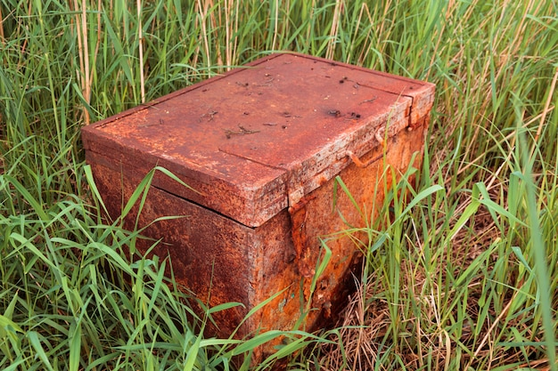 Old rusty closed chest