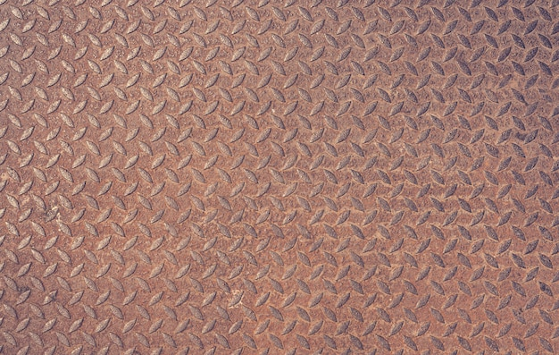 Old rusty iron diamond plate vintage metal background textured