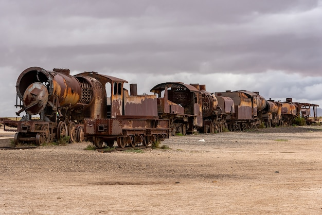 Old rusty locomotive abandoned in a train cemetery. uyuni, bolivia