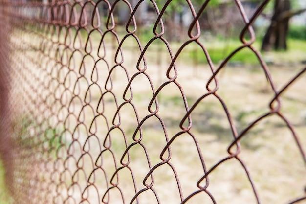 흐리게에 오래 된 녹슨 메쉬입니다. 화려한 패턴. 금속 녹슨 울타리.