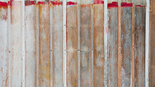 Old and rusty metal corrugated wall