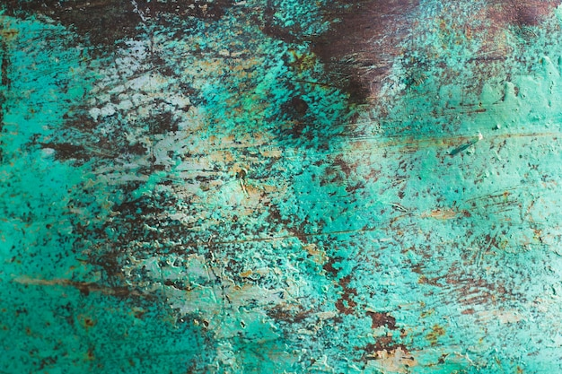 Old rusty metal sheet abstract background, rust on painted weathered steel sheet