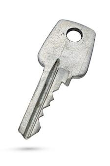 Старый ржавый ключ тумблера булавки, изолированные на белой поверхности с обтравочным контуром