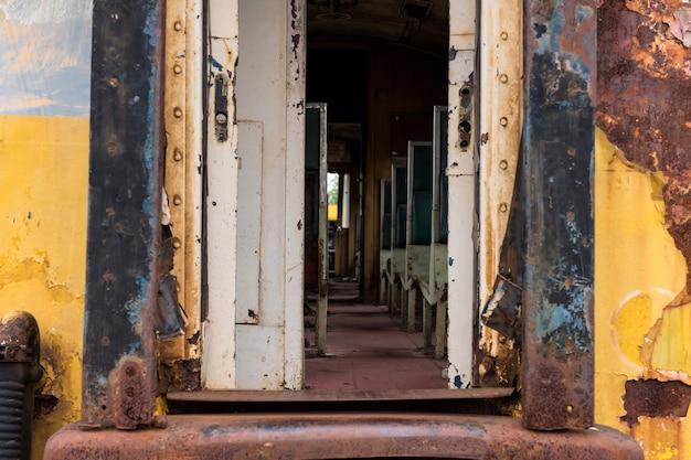 Old rusty thai railway train entrance