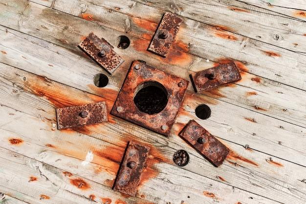 古いさびた木製リールの表面
