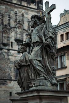 Old sculptures in prague old town, czech republic