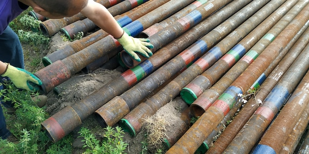 Old second hand drill pipes