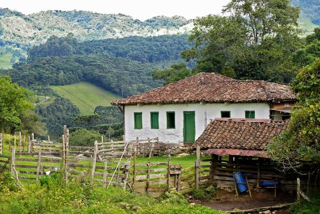 緑の風景の中の古い入植者の家