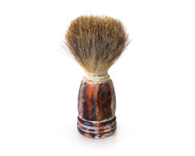 Old shaving brush isolated