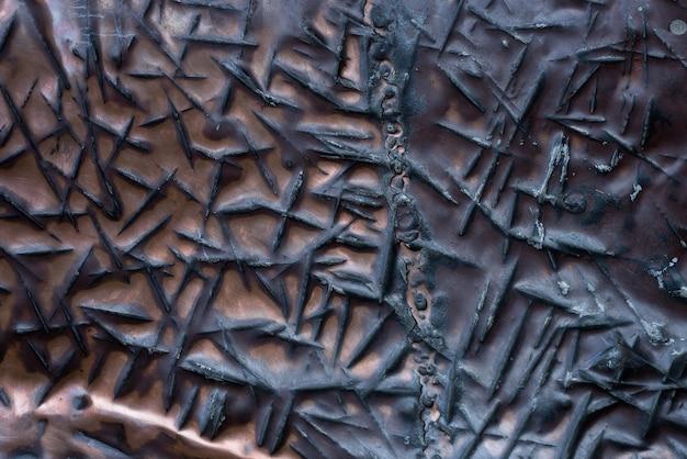 粗い溝のクローズアップと古いシート銅。背景とテクスチャ。