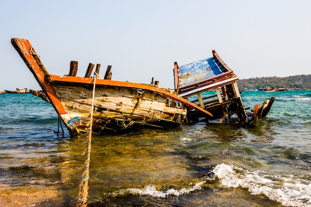Old ship disintegrated in sea.
