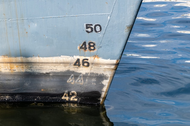 Old ship draft on hull, scale numbering