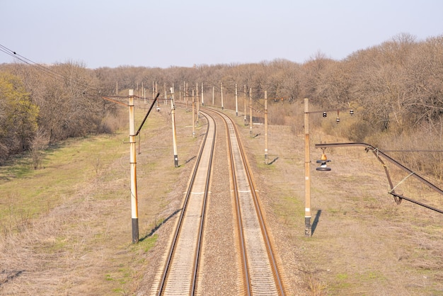 Old slightly rusty railroad tracks