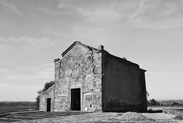 Old small building in black and white