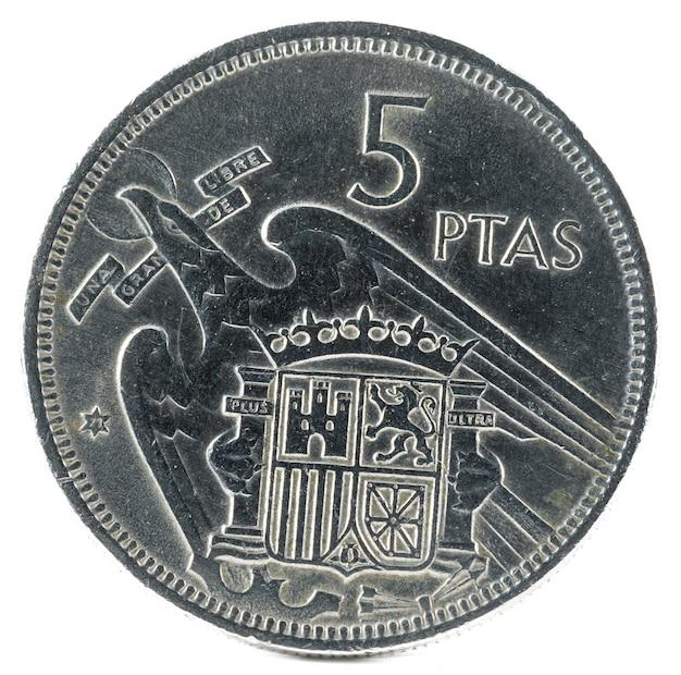5ペセタの古いスペインの硬貨