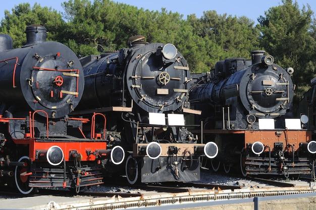 Old steam locomotive located in museum selcuk, turkey