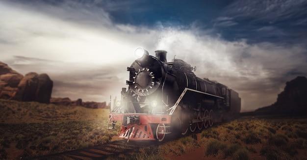 Old steam train, travel in valley. vintage locomotive. railway engine, ancient railroad vehicle