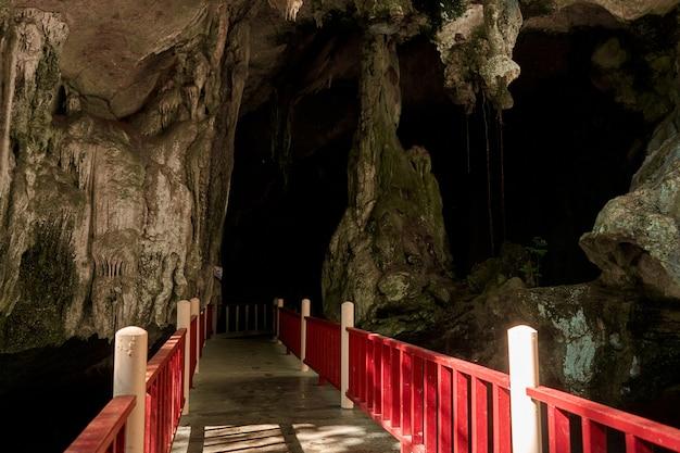 Старая каменная пещера летучей мыши в скале. туристическая достопримечательность. пройдите в пещеру.