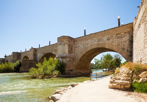 Old stone bridge over ebro