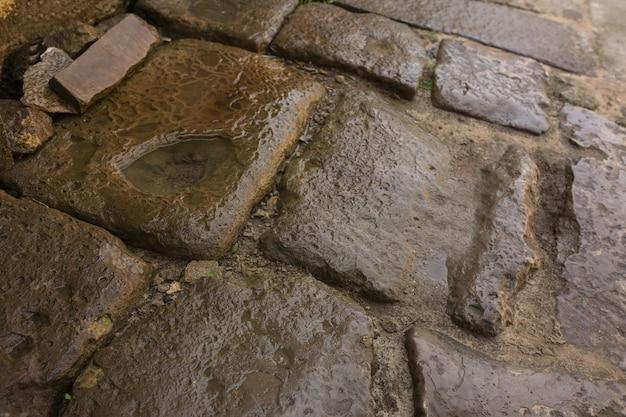雨上がりの古い石の濡れた歩道。クローズアップショット