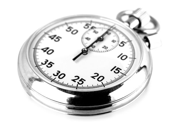 Old stopwatch isolated on white