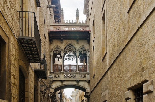 Old street of barrio gotico in barcelona