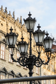 Old streetlight in lviv, ukraine