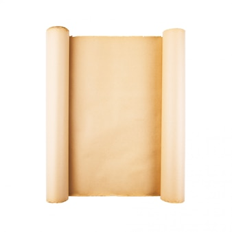 Старый подчеркнул бумаги прокрутки на белом фоне изолированы. вертикальный, квадратный фон, пустое пространство, комната для текста, копия, надпись, карта.