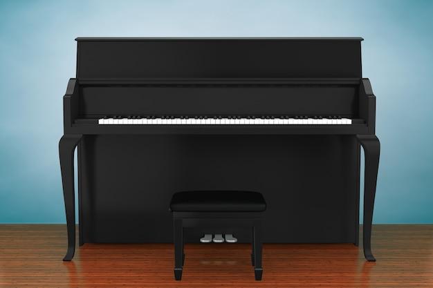 古いスタイルの写真。木の床に黒いピアノ