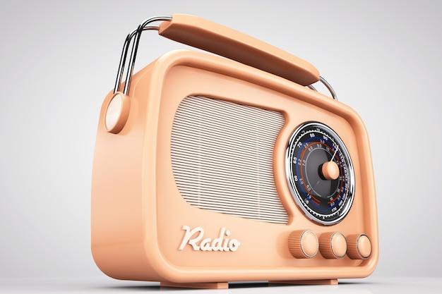 올드 스타일 사진. 흰색 배경에 근접 촬영 빈티지 라디오