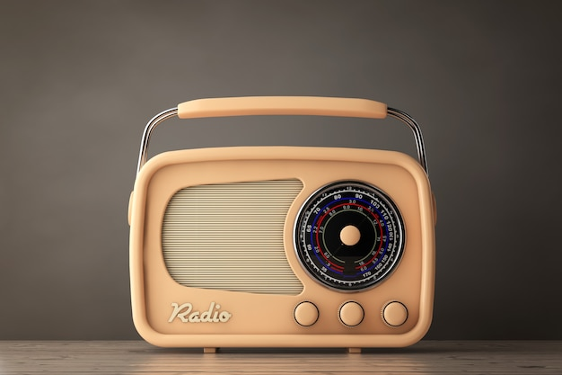 올드 스타일 사진. 나무 테이블에 근접 촬영 빈티지 라디오입니다. 3d 렌더링