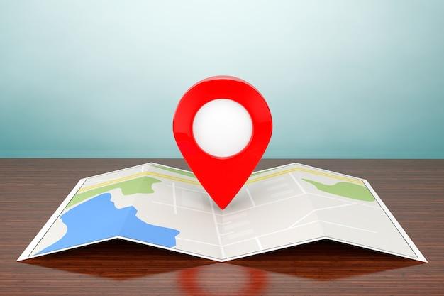 올드 스타일 사진. 테이블에 대상 핀이 있는 접힌 추상 탐색 맵