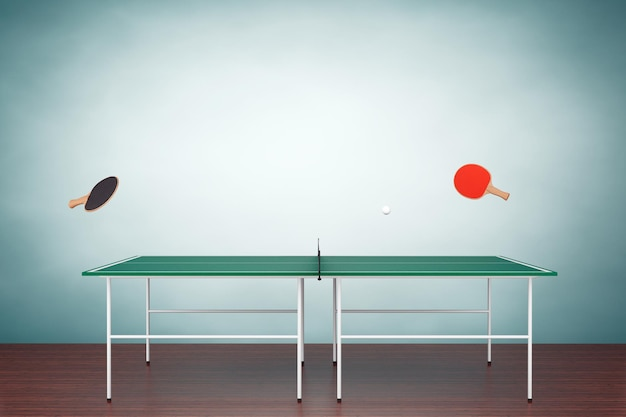 Фото старого стиля. теннисный стол для пинг-понга с ракетками на полу
