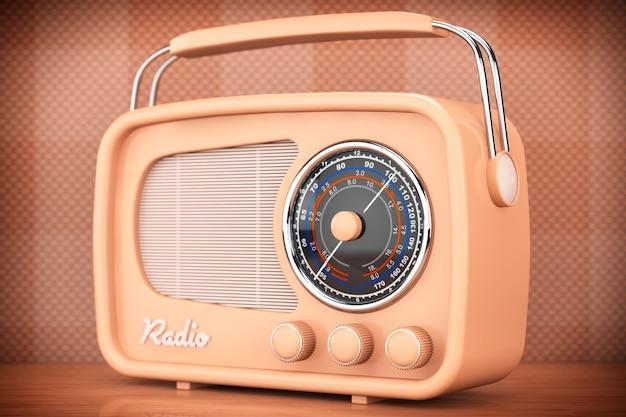 올드 스타일 사진. 테이블 앞 벽 배경에 빈티지 라디오