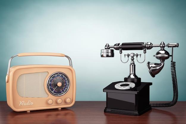 올드 스타일 사진. 테이블에 빈티지 전화 및 라디오