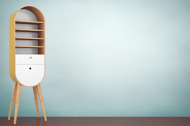 Фото старого стиля. винтажный деревянный кухонный шкаф на деревянном полу. 3d рендеринг