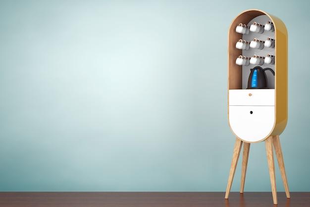 Фото старого стиля. винтажный деревянный кухонный шкаф с чайником и чашками на деревянном полу. 3d рендеринг