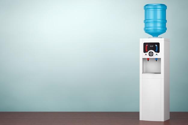 Фото старого стиля. кулер для воды с бутылкой на полу. 3d рендеринг