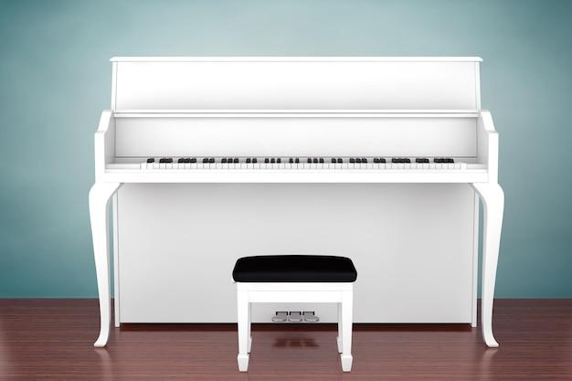 古いスタイルの写真。木の床に白いピアノ