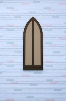 Old style of wooden window on white brick wall with some different color.