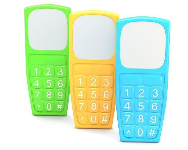 Старый стиль мобильного телефона, изолированные на белом фоне