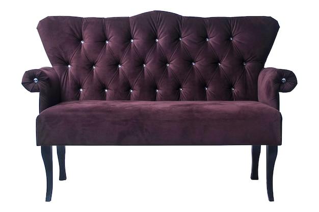 白い背景で隔離の古いスタイルの紫色のヴィンテージアームチェア