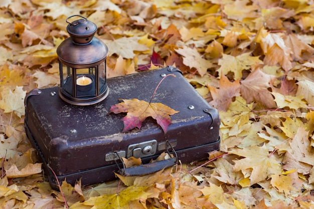 Old suitcase, on it is an old lantern and fallen leaves