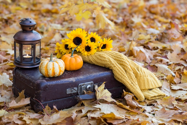 Old suitcase, on it two pumpkins, an old lantern with a candle, a bouquet of sunflowers and a knitted yellow sweater