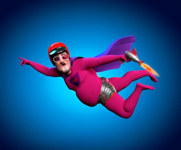 핑크색 정장을 입은 늙은 슈퍼히어로