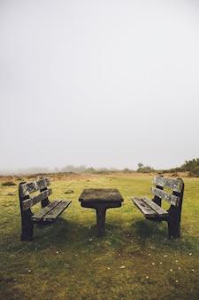 ポルトガルのマデイラ島のファナルの森と緑の丘の古いテーブルとベンチ