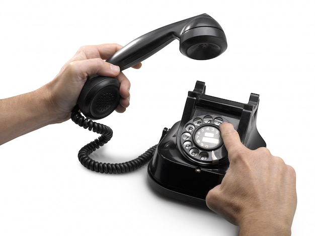 Old telephone dial with hands isolated