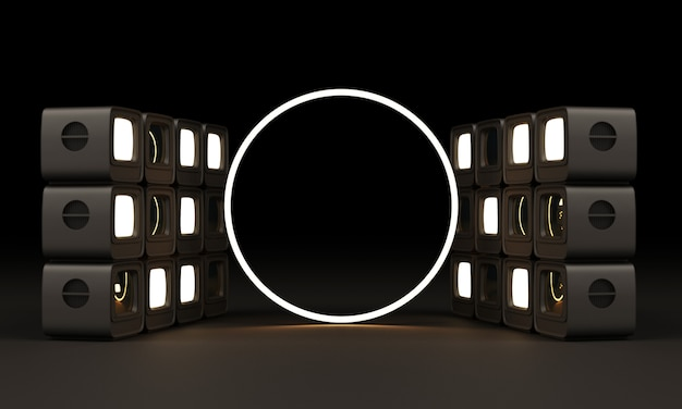 Old television in black colour with circle led lighting on black wall 3d rendering