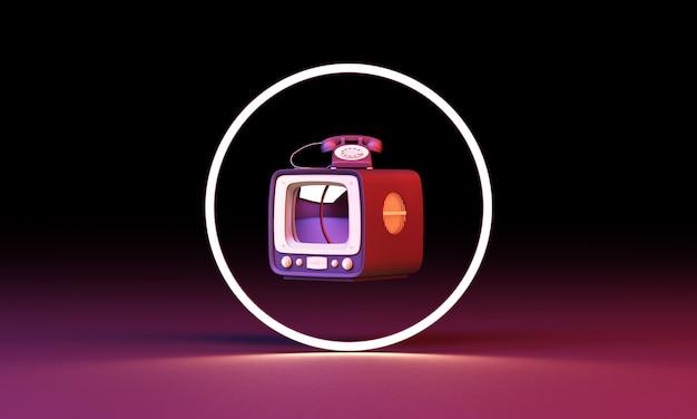 ピンク色の古いテレビとサークルとカラフルなパステルの古いものライターラジオスクーター自転車は黒い壁の3 dレンダリングの照明を導いた
