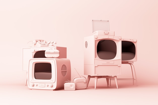 Old televisions and vintage radio player on a pink 3d rendering